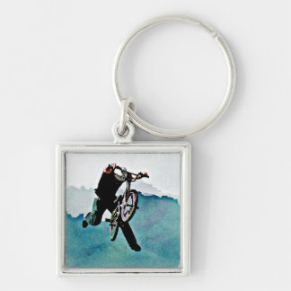 Freestyle BMX Bicycle Stunt Silver-Colored Square Keychain