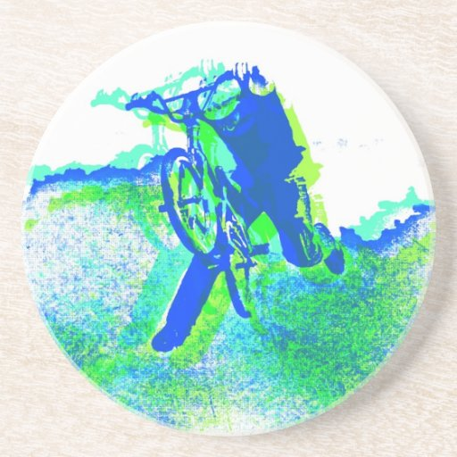 Freestyle BMX Rider in Cool Pop Art Style Coaster
