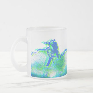 Freestyle BMX Rider in Cool Pop Art Style Frosted Glass Coffee Mug