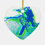 Freestyle BMX Rider in Cool Pop Art Style Christmas Tree Ornaments
