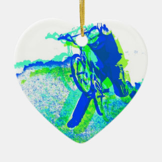 Freestyle BMX Rider in Cool Pop Art Style Double-Sided Heart Ceramic Christmas Ornament