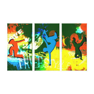 Freestyle Break Dance Graffiti Canvas 3 Panel