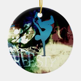 Freestyle Break Dance Graffiti Ceramic Ornament