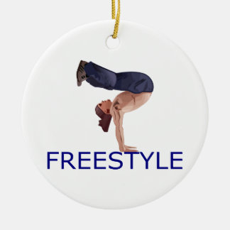 Freestyle Breakdancing  B Boy Double-Sided Ceramic Round Christmas Ornament