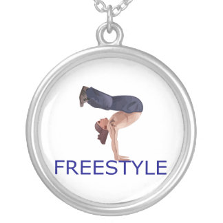Freestyle Breakdancing  B Boy Silver Plated Necklace