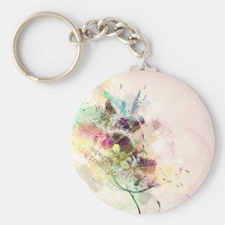 freestyle experimental design basic round button keychain