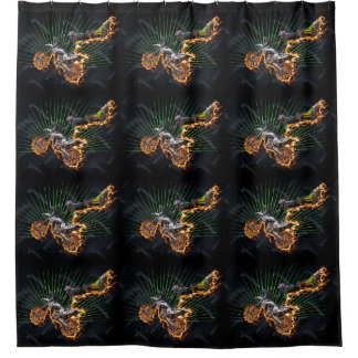 Freestyle motocross leaving a trail of fire shower curtain