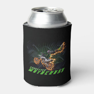 Freestyle motocross rider flying high can cooler