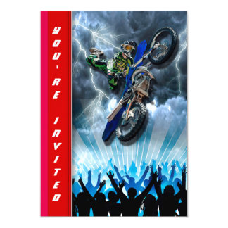 Freestyle Motocross rider flying over the crowd Card
