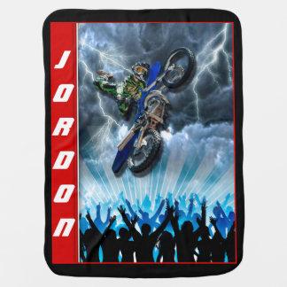 Freestyle Motocross rider flying over the crowd Stroller Blanket