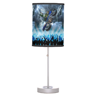 Freestyle Motocross rider flying over the crowd Table Lamp