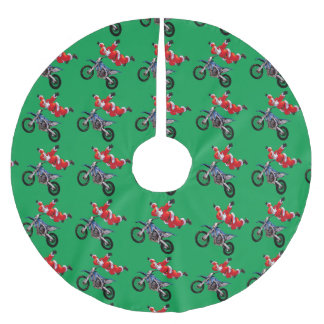 Freestyle motocross Santa Clause showing off Brushed Polyester Tree Skirt