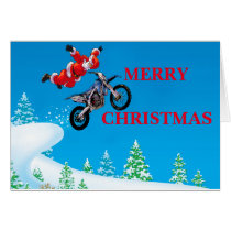 Freestyle motocross Santa Clause showing off Card