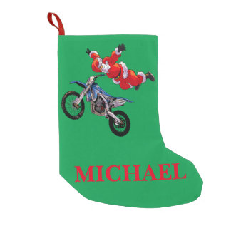 Freestyle motocross Santa Clause showing off Small Christmas Stocking