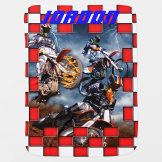 Freestyle motocross with checkered flags swaddle blanket