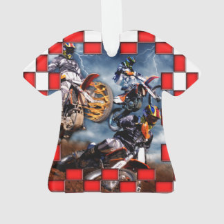 Freestyle motocross with red checkered flags ornament