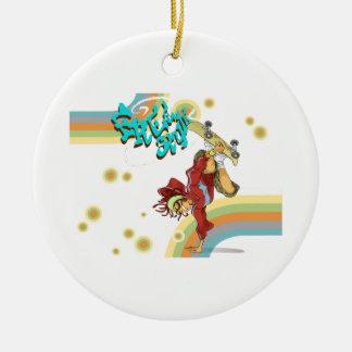 Freestyle Retro Skateboarder Ceramic Ornament