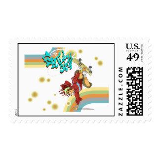Freestyle Retro Skateboarder Postage