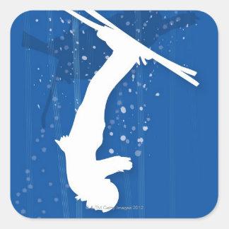 Freestyle Skier Square Sticker
