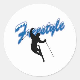 Freestyle Skiing Classic Round Sticker