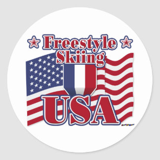 Freestyle Skiing USA Classic Round Sticker