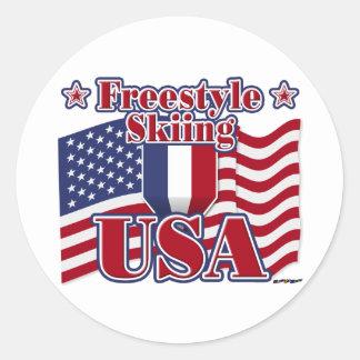 Freestyle Skiing USA Classic Round Sticker