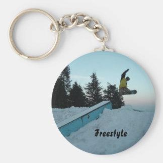 Freestyle Snow Boarder Basic Round Button Keychain