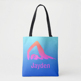 Freestyle swimmer, pink on blue, personalised tote bag