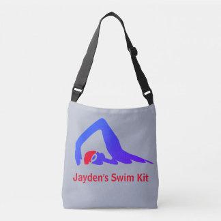 Freestyle swimmer, swim kit, personalised crossbody bag