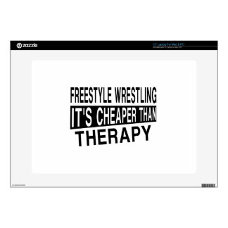FREESTYLE WRESTLING IT'S CHEAPER THAN THERAPY LAPTOP SKIN