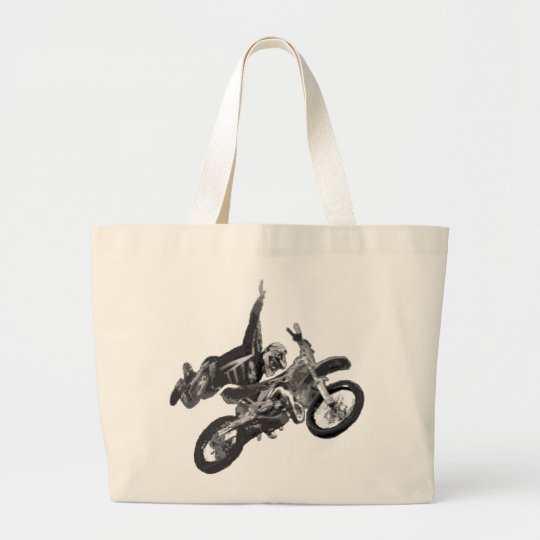 freestyling with dirt bike large tote bag