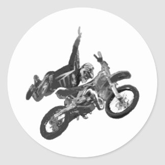 Freestyling with dirt bike round stickers