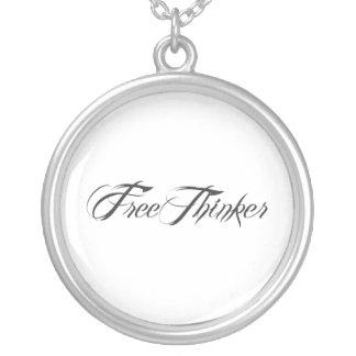 Freethinker Script Round Pendant Necklace