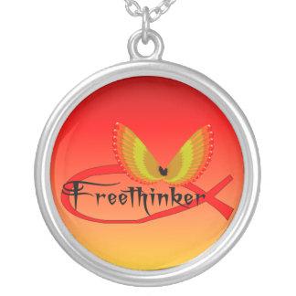 Freethinking Fish Symbol Round Pendant Necklace