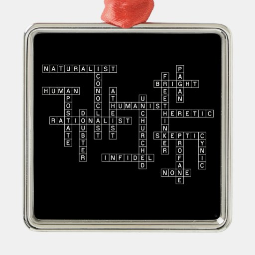 Freethought Crossword on Dark Christmas Tree Ornaments