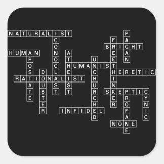 Freethought Crossword on Dark Square Sticker