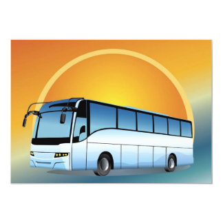 FreeVector-Bus Transportation travel touring 5x7 Paper Invitation Card