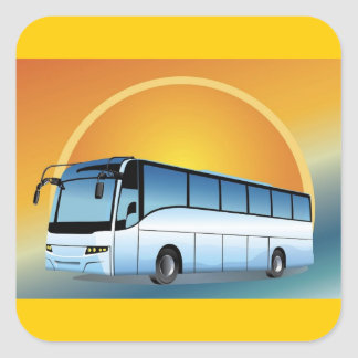 FreeVector-Bus Transportation travel touring Square Sticker