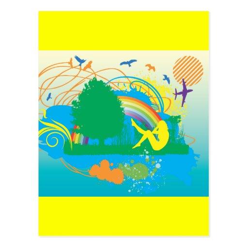 FreeVector-Garden-of-Eden COLORFUL VECTOR Postcard