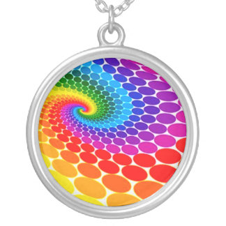 FreeVectorColorfulDotsBackground Silver Plated Necklace