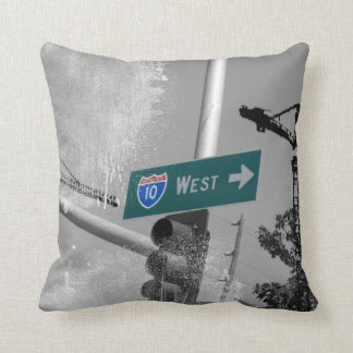 Freeway 10 West Sign Throw Pillows