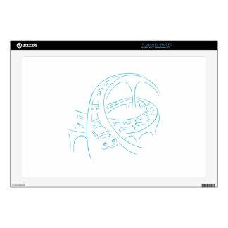 """Freeway Cars Line Drawing 17"""" Laptop Skin"""