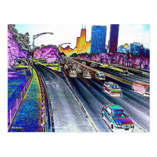 Freeway Driving in Colored Foil Post Card