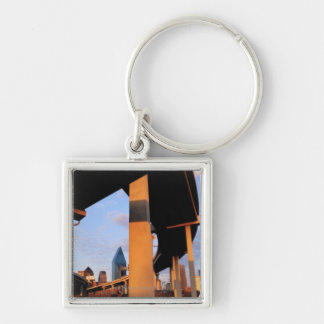 Freeway Overpass in Dallas 2 Silver-Colored Square Keychain