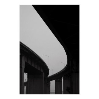Freeway Ramps in a Fog Poster,Print Poster