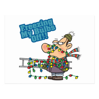 freezing my bulbs off xmas lights funny cartoon postcard