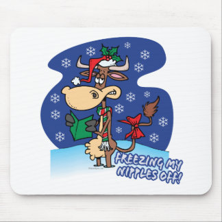freezing my nipples off funny xmas cow mouse pads