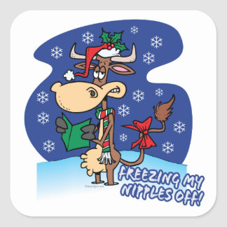 freezing my nipples off funny xmas cow square sticker