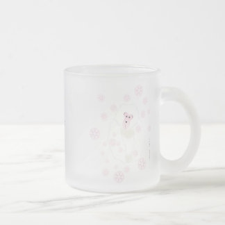 Freezing outside, cozy inside, pink snow frosted glass coffee mug