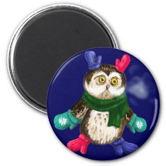 Freezing owl 2 inch round magnet